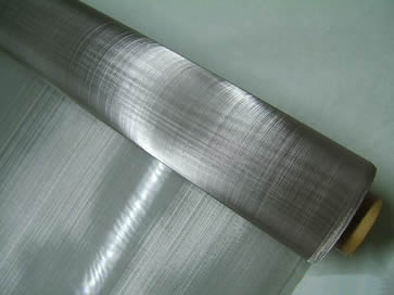 A roll of stainless steel mesh cloth in plain weave